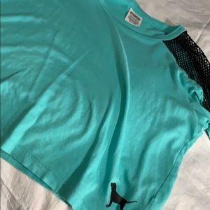 Cropped Victoria secret teal shirt